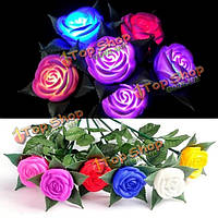 Цветов изменяя розы LED огни на открытом воздухе двор сад моделирования цветок лампы розы