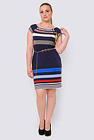 Легкое женское платье больших размеров из трикотажа с карманами 90161/4
