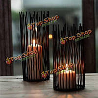 Черный роскошный железный свадебный внутренний декор канделябров канделябра подсвечника держателей свечи волн
