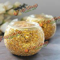 Золотые мозаичные стеклянные канделябры подсвечника подсвечника ручной работы домашний свадебный подарок обстановки