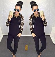 Женский модный спортивный костюм-двойка с леопардовым принтом / черный