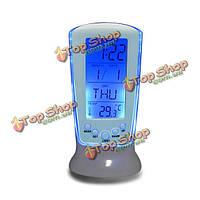 LED Цифровой будильник Подсветка музыка календарь термометр настольные часы часы