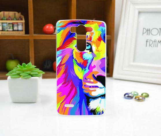 Силиконовый чехол накладка для LG G3s Optimus G3mini D722 D725 с рисунком Разноцветный лев