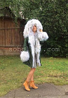 "Куртка-парка с мехом ламы жемчужного цвета ""Jessica"""