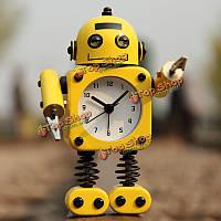 Творческий робот будильник немой часы клипы сообщение домой декоративные часы подарок игрушки