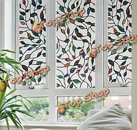 Статические оконные пленки тростника листья 3 метра ПВХ пленки стекла стикер без клея вилкой художественное стекло плакат