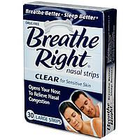 Breathe Right, Полоски для носа, для чувствительной кожи, 30 больших полосок