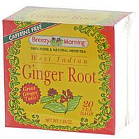Breezy Morning Teas, Корень имбиря из Западной Индии, без кофеина 20 чайных пакетиков, 1.55 унций