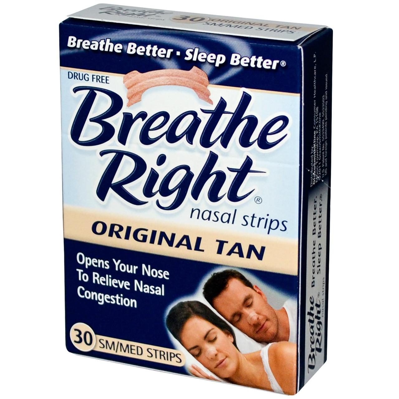 Breathe Right, Носовые полоски, Оригинальные, Размер М/ С 30 шт