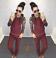 Женский модный спортивный костюм-двойка с леопардовым принтом / бордо