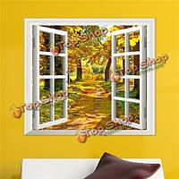 3D просмотр Windows желтого дерева 3D наклейки для стен осень вид наклейки стены дома Декор подарок