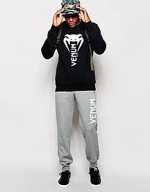 Мужской Спортивный костюм Venum чёрно - серый