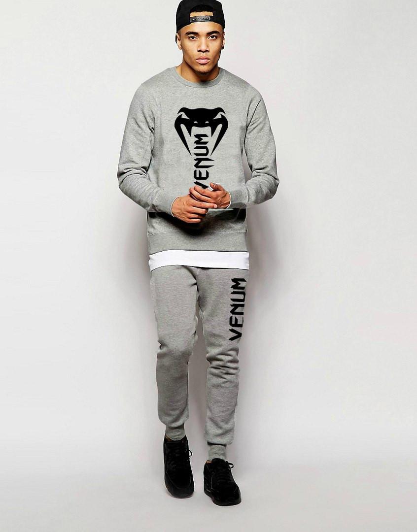 Мужской Спортивный костюм Venum серый (большой лого)