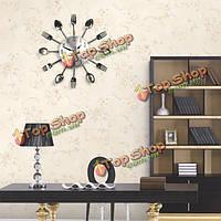 Креативный дизайн кухни столовые приборы ложки вилки настенные часы домашнего декора