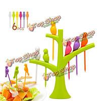 Птичка фрукты вилка птицы на дереве десерт торт фрукты выбирает Посуда наборы