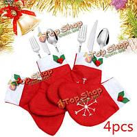 4шт Рождество носки столовые приборы посуда держатель мешка карманы сервизы украшение