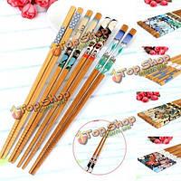 5Pairs Japenese стиль натуральный бамбук палочки для еды деревянные установить Value Pack ужин палочками