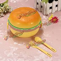 3 гамбургера слоя формируют бенто коробки для завтрака с ложкой вилки