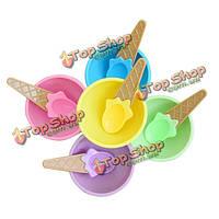 Пластиковые дети мороженое вафельном конусе миски ложки чашки набор
