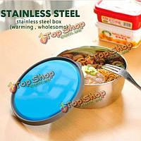 Круглый стальной обед контейнер еды коробка бенто коробка из нержавеющей