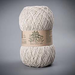 Хлопковая пряжа со льном для вязания спицами, Vivchari Ethno-Cotton 1200, 002 беж