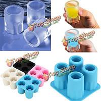 4 чашки силикона формы для льда стеклянные шутер создатель прессформы