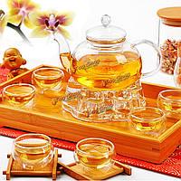 Китайский кунгфу стекло чайник для заварки набор с фильтром свечки теплых 6 чашек