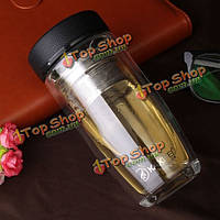 Творческий двойной слой портативный стакан стеклянная чашка фильтр офис кружек воды из стекла
