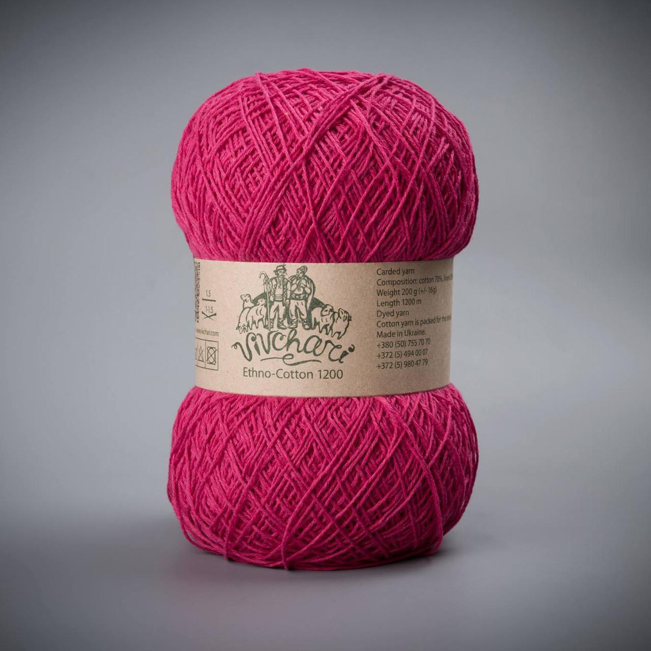 Пряжа для вязания летних вещей хлопок и лен Vivchari Ethno-Cotton, цвет 008 фуксия