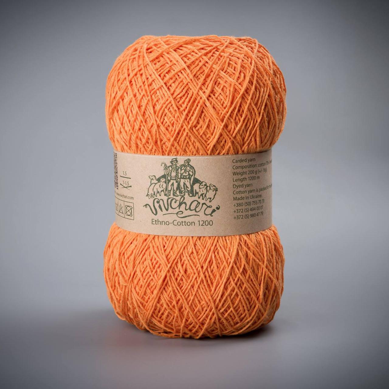 Летняя пряжа для вязания спицами хлопок и лен 1200 ТМ Vivchari, цвет 009 оранжевый