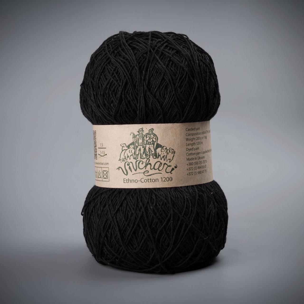 Пряжа Vivchari Ethno-Cotton 1200, цвет 013 черный