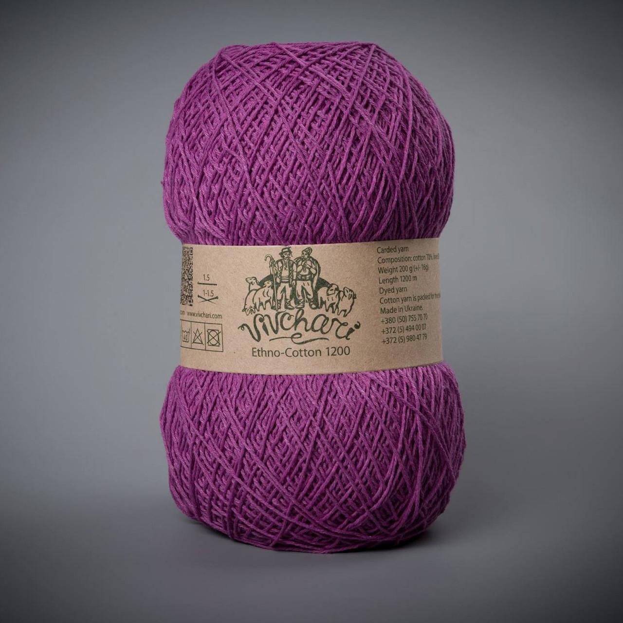 Пряжа хлопок со льном Vivchari Ethno-Cotton 1200, цвет 016 темная сирень