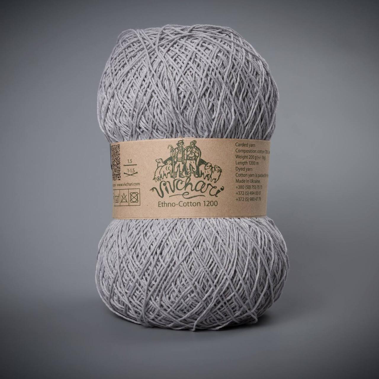 Пряжа хлопок и лен Vivchari Ethno-Cotton 1200, цвет 017 серый