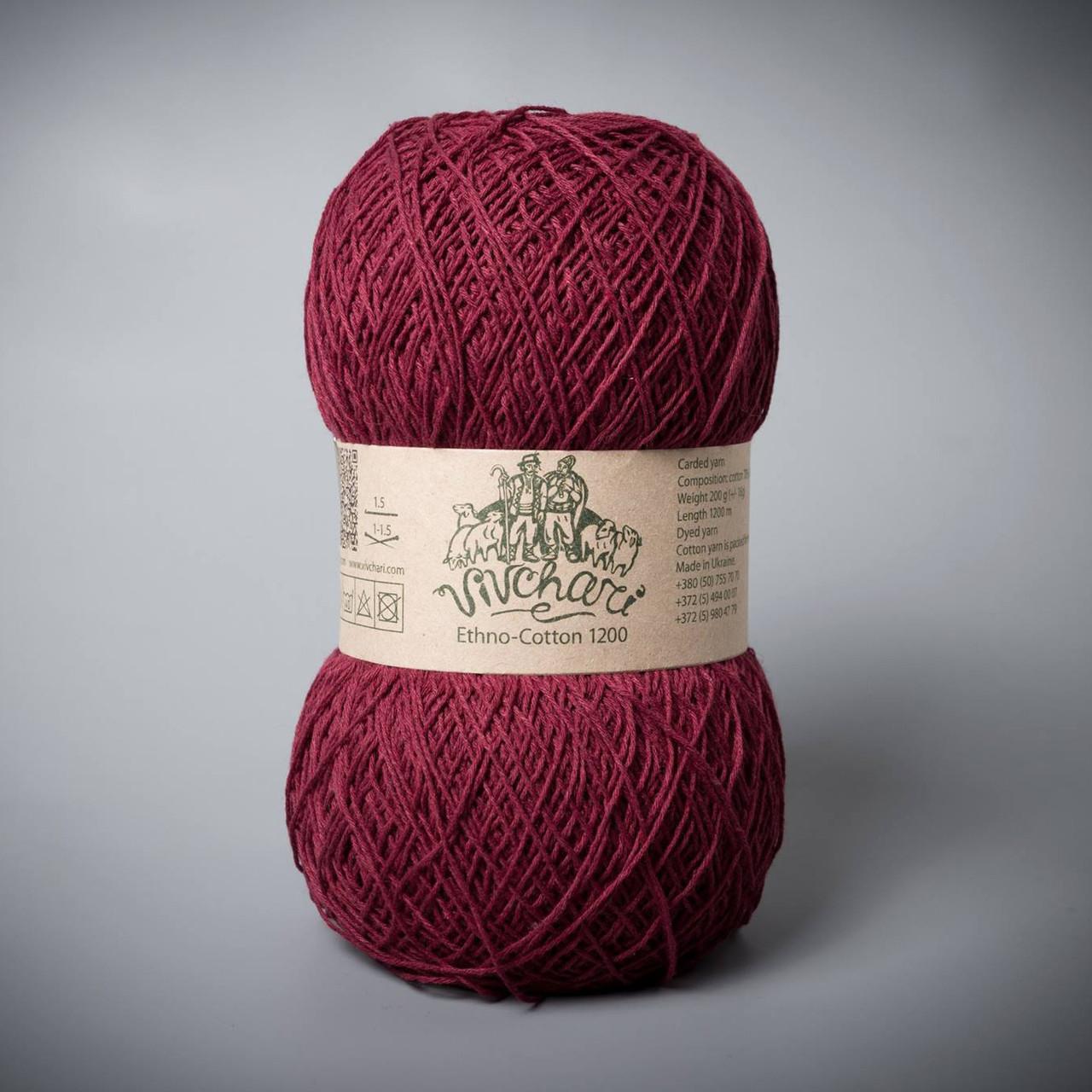 Пряжа хлопок и лен Vivchari Ethno-Cotton 1200, цвет 018 бордо