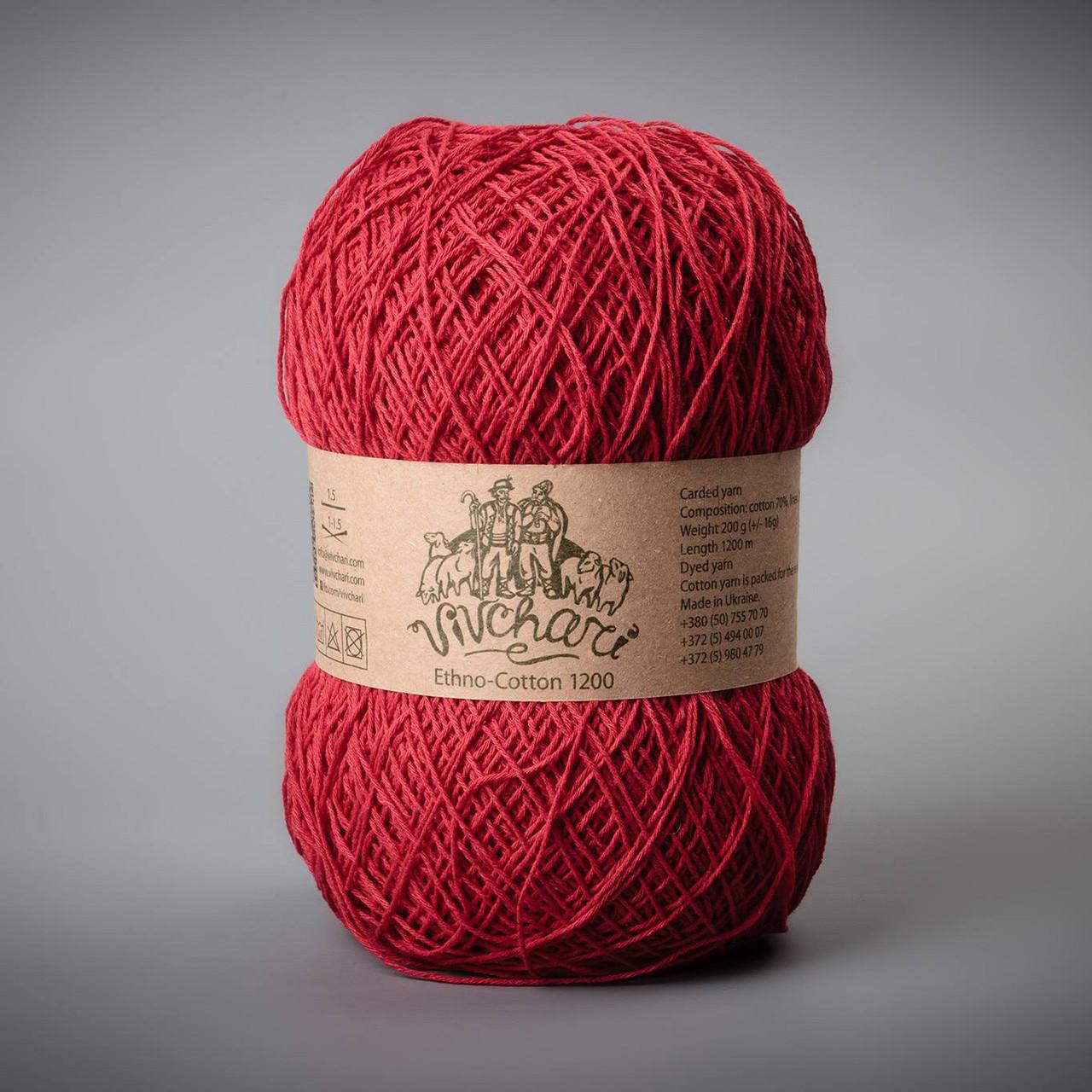 Пряжа Vivchari Ethno-Cotton 1200, цвет 019 красный