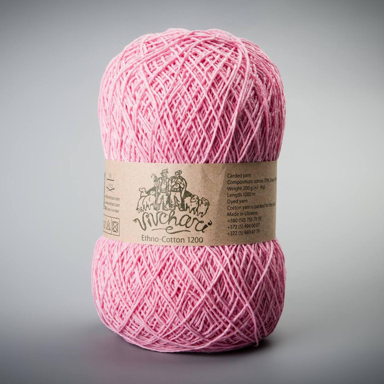Летняя пряжа Vivchari Ethno-Cotton 1200, цвет 022 розовый