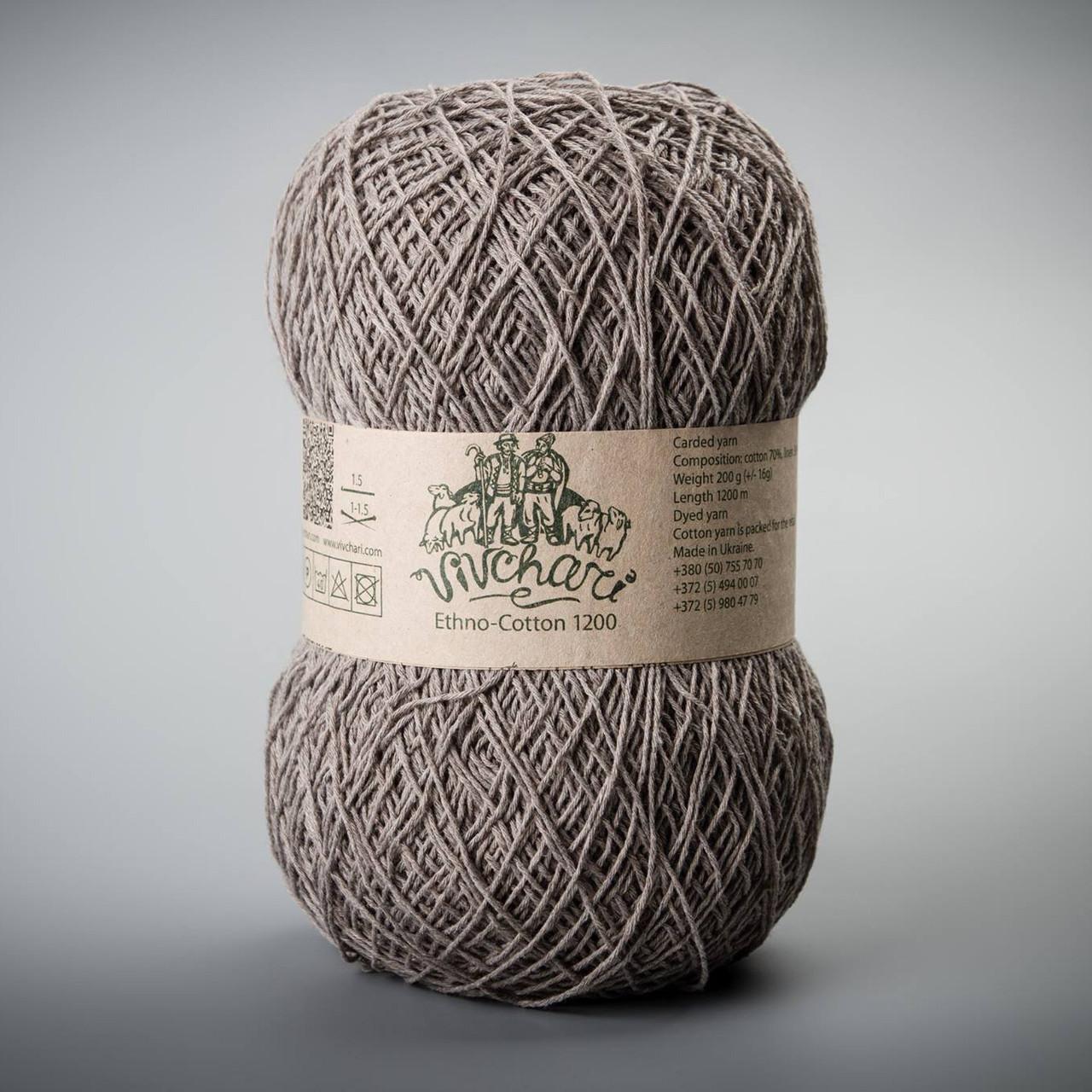 Пряжа Vivchari Ethno-Cotton 1200, цвет 024 кофейный