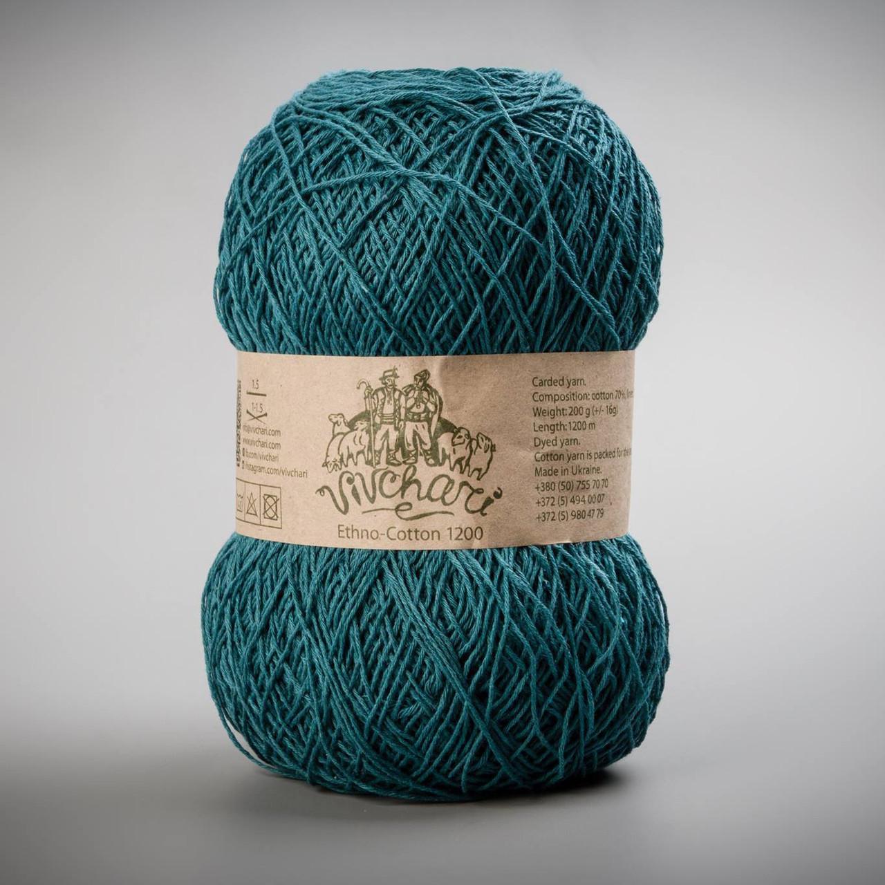 Пряжа лен и хлопок Vivchari Ethno-Cotton 1200, цвет 026 темная морская волна