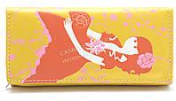 Женский оригинальный кошелек с цветным принтом с девушкой желтого цвета art. девушка с букетом