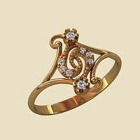 Нежное женское кольцо из красного золота 585* пробы