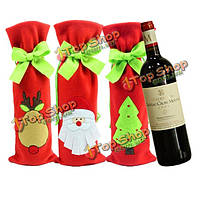 Винная бутылка Санта Клауса покрывает рождественское художественное оформление званого обеда мешков красного вина сумки