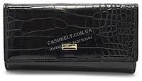 Женский стильный кошелек с тиснением под крокодила лак COSSROLL art. Q05-5242 черный