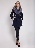 Стильное женское пальто из кашемира с меховой опушкой черное с черной опушкой, черное с серой опушкой, красное, темно-синее с серой опушкой