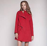 Женское демисезонное пальто свободного кроя с оригинальным карманом изумруд, красное, горчица, темно-синее