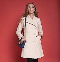 Необычное женское пальто из кашемира с оригинальным воротником и поясом на талии цвета кемел, шоколад, свтлый беж, персик