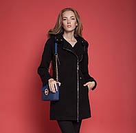 """Демисезонное женское пальто """" Москино"""" на змейке сбоку и с большим капюшоном кемел, черное, темно-синее"""