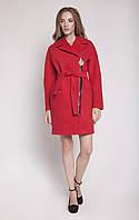 Необычное женское пальто приталенного кроя на молнии с поясом светлый беж, синее, горчица, красное