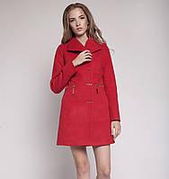 Модное демисезонное пальто приталенного кроя с карманами на змейках и необычными пуговицами светлый беж, синее, темно-синее, красное