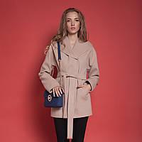 Необычное короткое женское пальто с оригинальным большим капюшоном красное, темно-синее, кемел, светлый беж