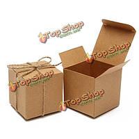 50шт старинных крафт-коричневые конфеты коробки конфеты венчания подарка дня рождения благосклонности партии